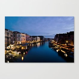 Amazing  Venice  Italy  travel  wanderlust, blue sea canals, night in Venice   canal  bridge  tour Canvas Print