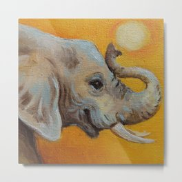 Good Luck Elephant Safari style landscape & elephant Animal portrait Yellow background Painting Metal Print