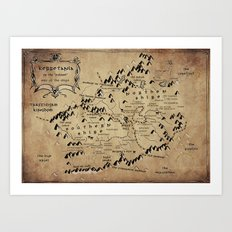 Kerretania Tolkien map Style Art Print