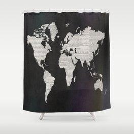 Newsprint World Map Shower Curtain