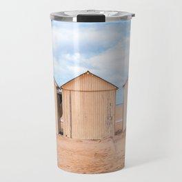 Beach cabins at the French coast l European travel art Travel Mug