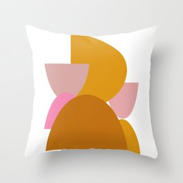Colorful Earth Tones Organic Shapes Throw Pillow