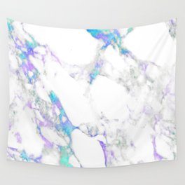 Bright Aqua Purple Marble Abtract Design Wall Tapestry