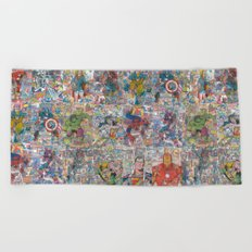 Vintage Comic Superheroes Galore (Limited Time) Beach Towel