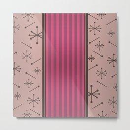 Mid Century Stripes & Starbursts (Hot Pink) Metal Print