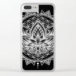 Lotus Mandala - Black Clear iPhone Case
