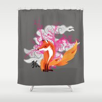 kitsune Shower Curtains featuring Kitsune by Mazuki Arts