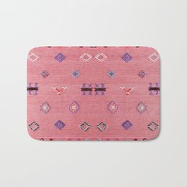 N61 - Lovely Pink Traditional Boho Farmhouse Moroccan Style Artwork Bath Mat