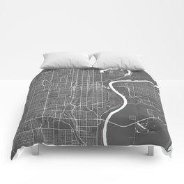 Omaha USA Modern Map Art Print Comforters