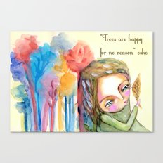 Trees are happy for no reason Osho quote inspirational words Canvas Print