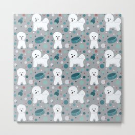Bichon Frise dog pattern Metal Print
