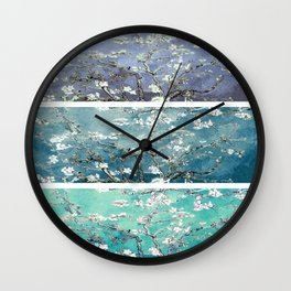 Van Gogh : Almond Blossoms Turquoise Teal Steel Blue Panel Art Wall Clock