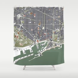 Barcelona city map engraving Shower Curtain