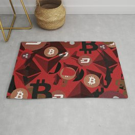 Cryptocurrency money pink pattern Rug
