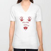 bikini V-neck T-shirts featuring Handmade Bikini by Devin Stout