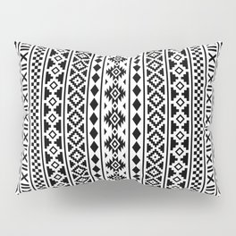 Aztec Essence Pattern Black on White Pillow Sham