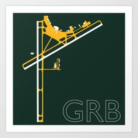 packers Art Prints featuring Green Bay (GRB) - Packers by Kyle Rodgers