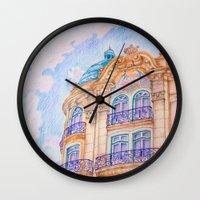art nouveau Wall Clocks featuring art nouveau by Tereza Del Pilar