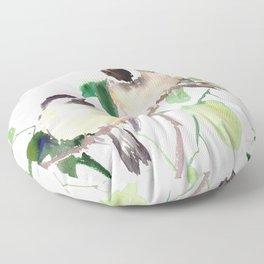 Chickadees, birds on tree, bird design neutral colors Floor Pillow