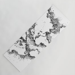Gray splatters watercolor world map Yoga Mat