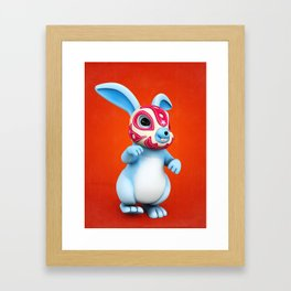 Lucha Rabbit-Blue Brother Framed Art Print