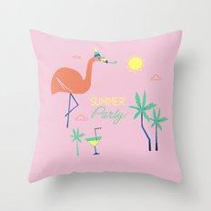 Pink-Flamingo Throw Pillow
