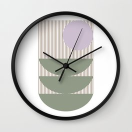 Lines and Shapes in Moss and Lilac Wall Clock