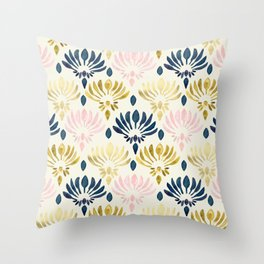 Stylized Watercolor Lotus Pattern Throw Pillow