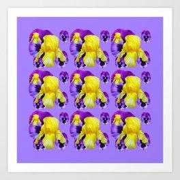 LILAC MONTAGE YELLOW IRIS PURPLE PANSY ART Art Print