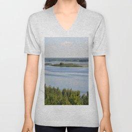 Landscape on the river # 3 Unisex V-Neck
