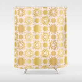 Luxe Rose Gold Star Damask Pattern Seamless Vector Repeat Drawn Shower Curtain
