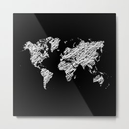 Invert scribble world map Metal Print
