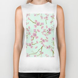 Spring Flowers - Mint and Pink Cherry Blossom Pattern Biker Tank