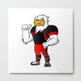 cartoon hawk football player. Metal Print