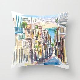 San Juan Puerto Rico Street Scene With Harbour View Throw Pillow