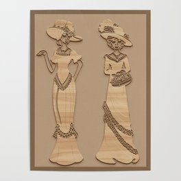 Victorian Ladies - Simulated Carved Wood Poster