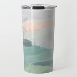 Seafoam Green Mint Black Blush Pink Abstract Nature Land Art Painting Travel Mug