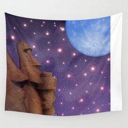 Moai & Moon in Universe Wall Tapestry