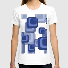 Rectangles Mid Century Vintage Design - blue white T-shirt