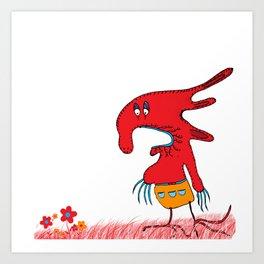Red lovely boogy monster, red, grass, flowers Art Print
