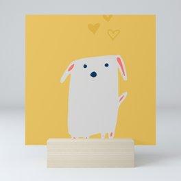 Cute sweet Dog Yellow Mini Art Print