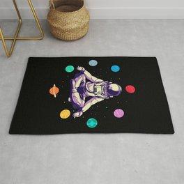 Retro Yoga Astronaut Meditates In Space Rug