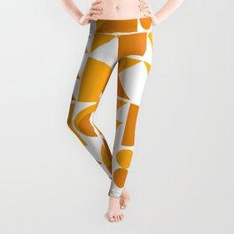 Mid Century Shape Art in Mustard Yellow Leggings