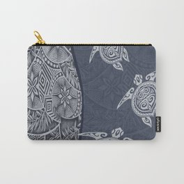 Contemporary Hawaiian Tapa with Sea Turtles Carry-All Pouch