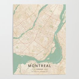 Montreal, Canada - Vintage Map Poster