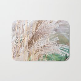 Blurred natural texture dry reed. Bath Mat