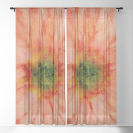 salmon flower Sheer Curtain