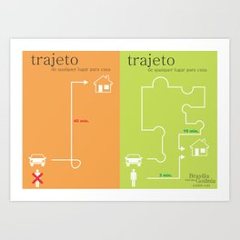 trajeto em brasília x trajeto em goiânia Art Print