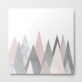 BLUSH MARBLE GRAY GEOMETRIC MOUNTAINS Metal Print