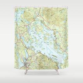 Lake Winnipesaukee Map (1986) Shower Curtain